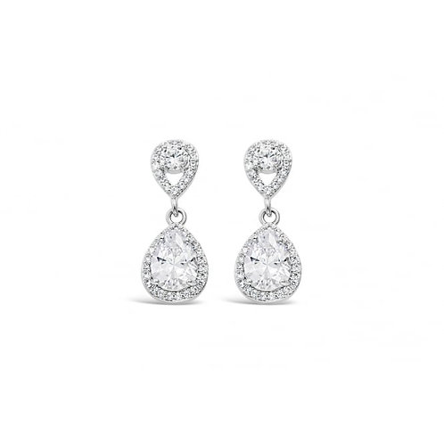 Rhodium Plated Earrings With Cubic Zirconia & Crystal Stones