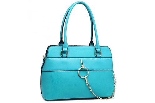 Blue Hoop Chain Shoulder Bag