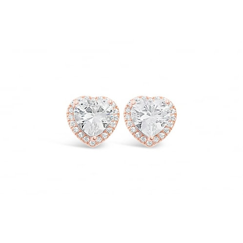 Rose Gold Heart Earrings With Cubic Zirconia