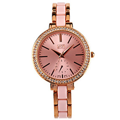 Elegant Pink & Rose Gold Dual Bracelet Watch