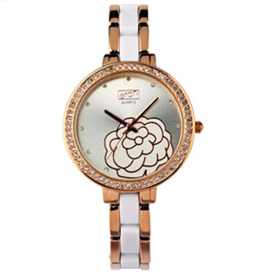 White & Rose Gold Flower Face Watch
