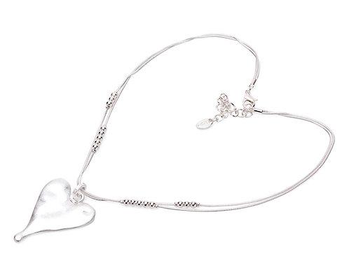 Long Silver Colour Heart Pendant Necklace