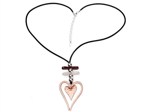 Leather Heart Pendant Necklace