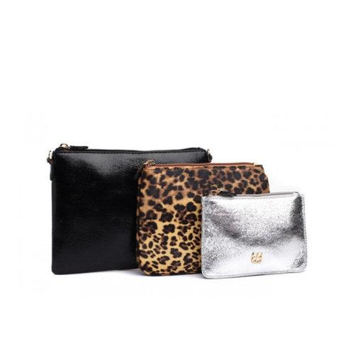 Black & Silver Trio Cosmetic Bag Set