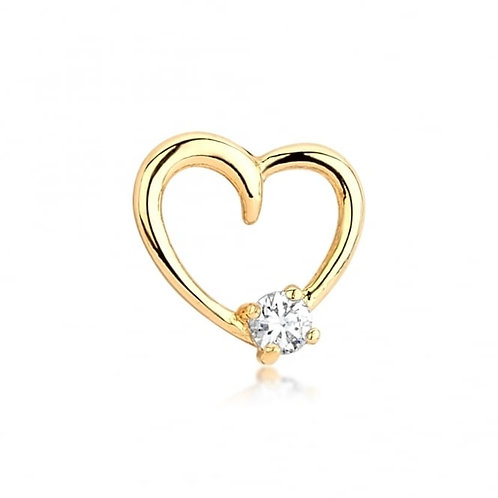 Cubic Zirconia Love Heart Gold Earrings