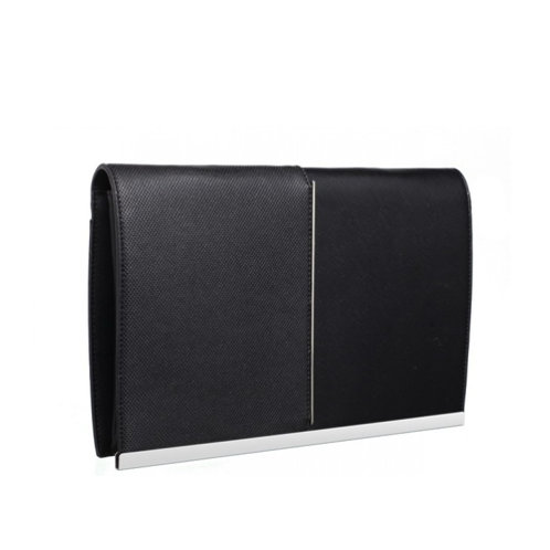 Double Textured Black Clutch Bag
