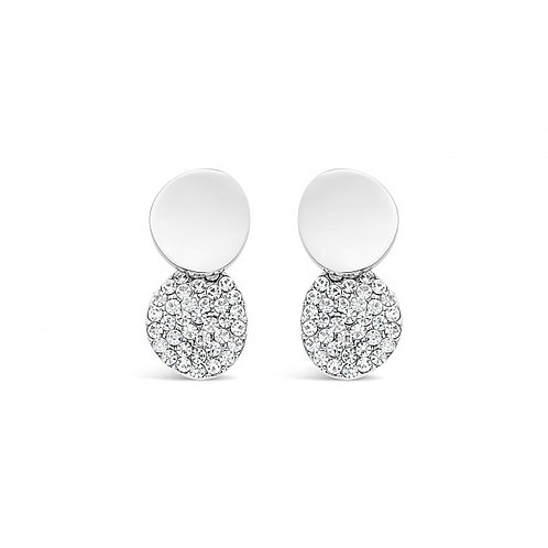 Rhodium Plated Double Circular Stud Earrings
