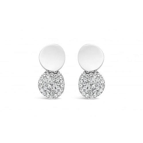 Rhodium Plated Double Circular Stud Earrings