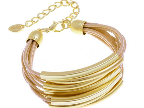 Multi Strings Gold Tubes Bracelet