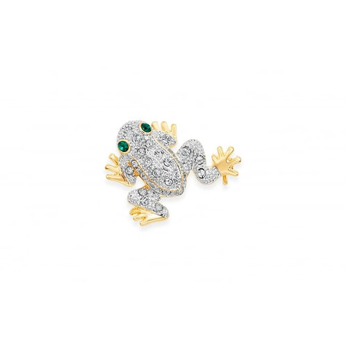 Gold Rhodium Plated Crystal Frog Brooch