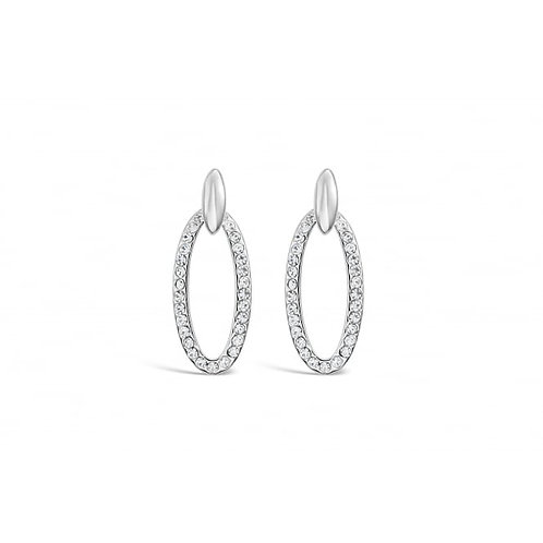 Rhodium Classic Oval Earrings With Czech Crystal