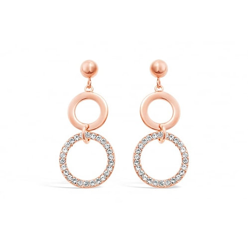 Double Ring Drop Rose Gold Plated Earrings