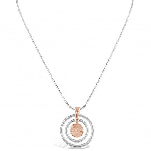 Brushed Rose Gold & Silver Plated Pendant Necklace