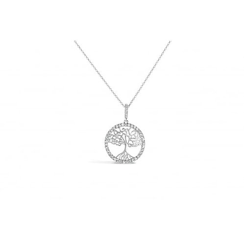 "Lovely Rhodium Plated Tree OF Life 16"" Long Necklace"