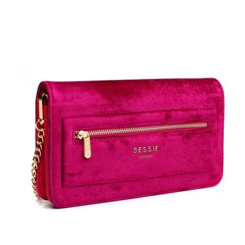 Purple Velvet Cross Body Bag