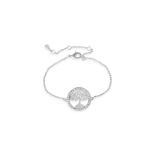 Rhodium Plated Crystal Tree Of Life Bracelet