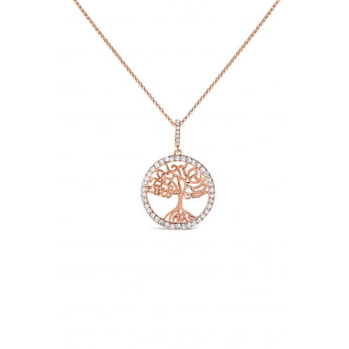 Rose Gold Plated Crystal Set Tree Of Life Necklace