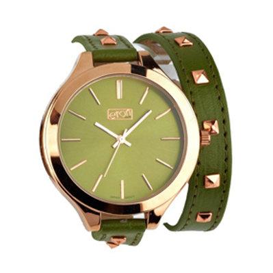 Green Studded Wrap Around Watch