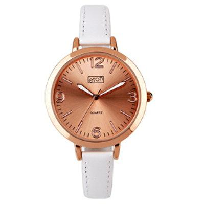 Rose Gold Slim White Strap Watch