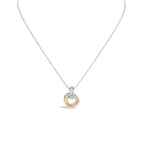 Rhodium, Rose Gold & Gold Plated Necklace With Czech Crystals