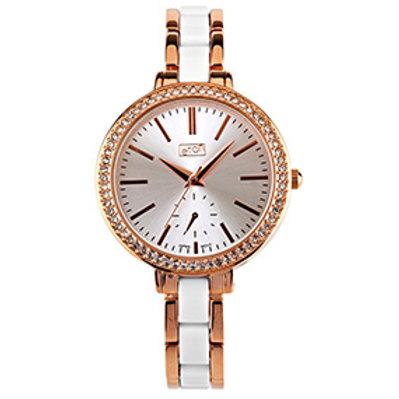 Elegant White & Rose Gold Dual Bracelet Watch
