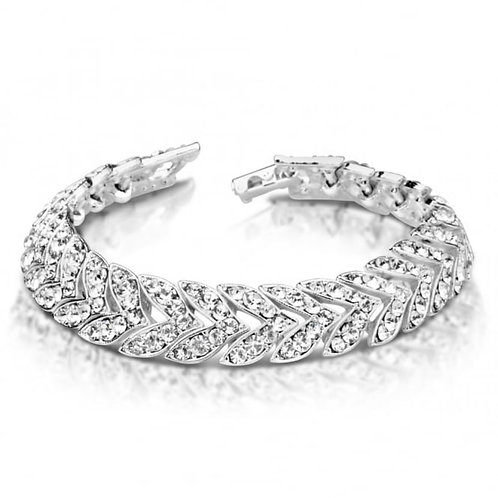 Silver Plated Bracelet With Channel Set Crystal Stones