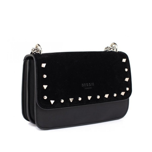 Black Velvet Studded Cross Body Bag