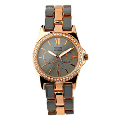 Grey & Rose Gold Diamante Watch