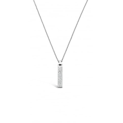 Rhodium Necklace With Crystal Stones