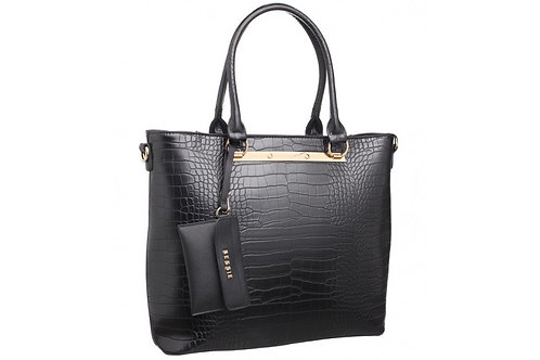 Black Reptile Textured Shoulder Bag