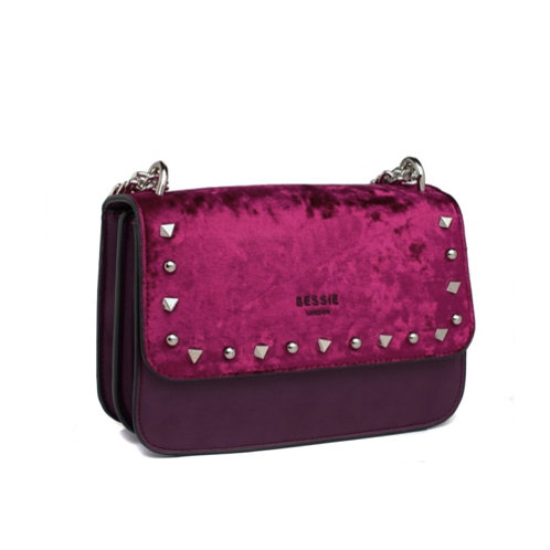 Purple Velvet Studded Cross Body