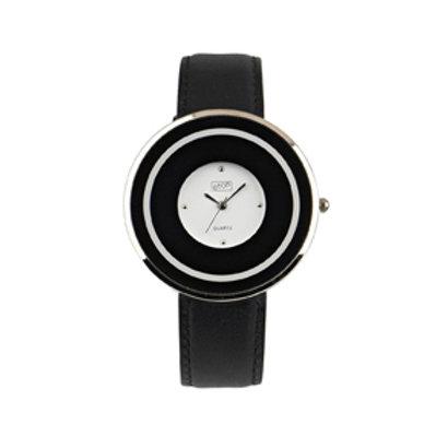 Black Circular Flat Case Watch