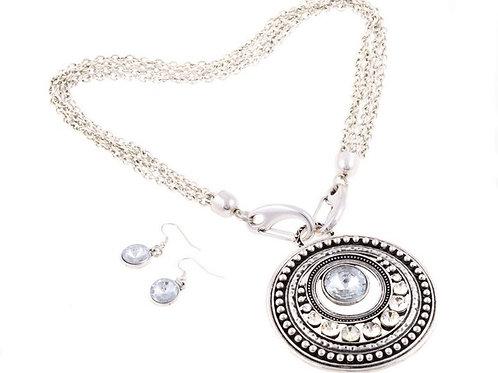 Chunky Alloy Pendant & earrings Set