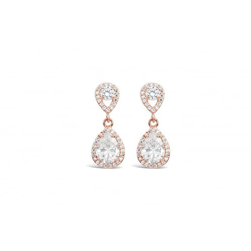 Rose Gold Cubic Zirconia Stone Earrings