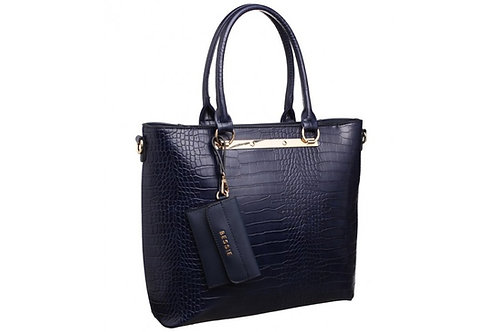 Blue Reptile Textured Shoulder Bag