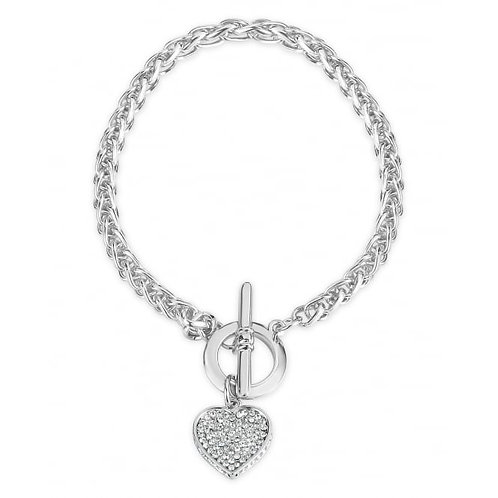 Rhodium Plated T-Bar Heart Bracelet
