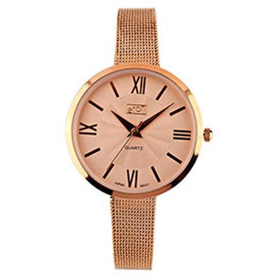 Rose Gold Mesh Strap Watch
