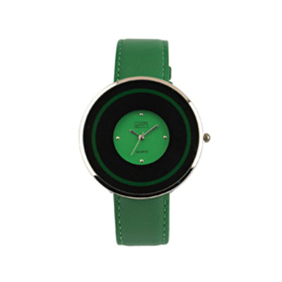 Green Circular Flat Case Watch