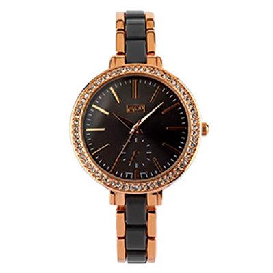 Elegant Black & Rose Gold Dual Bracelet Watch