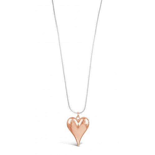 Stylish Long Silver & Rose Gold Plated Necklace