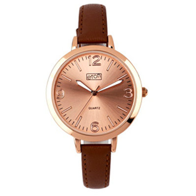 Rose Gold Slim Brown Strap Watch