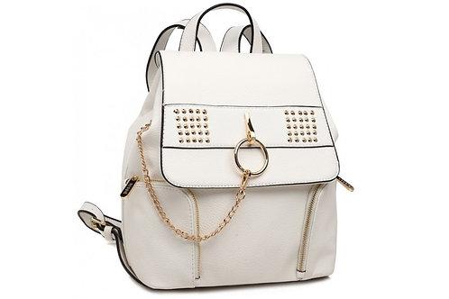 White Chain Stud Backpack