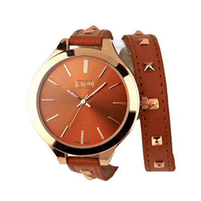 Brown Studded Wrap Around Watch