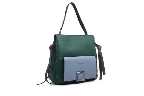 Two Colour Green Shoulder Bag
