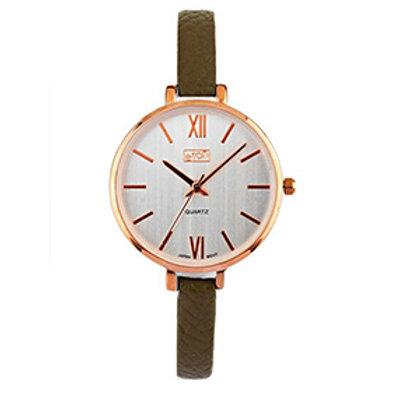 Khaki Slim Strap Wrist Watch