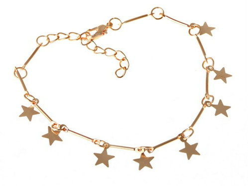Gold Plated Star Charms Anklet