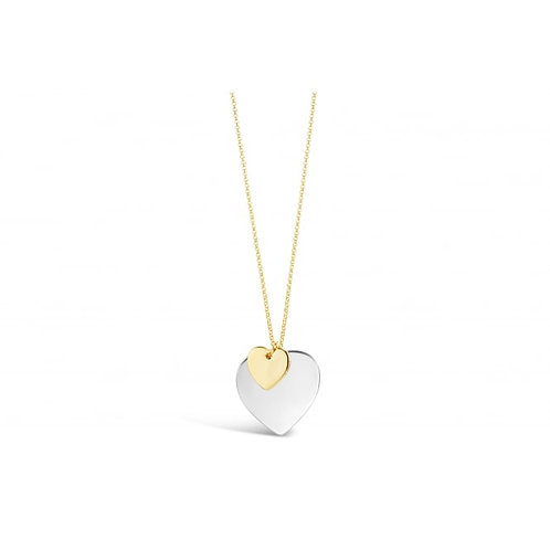 Long Double Heart Gold & Rhodium Plated Necklace
