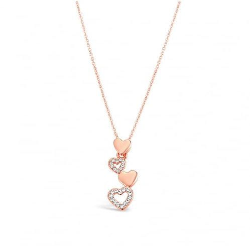 Rose Gold Heart Drop Crystal Set Necklace