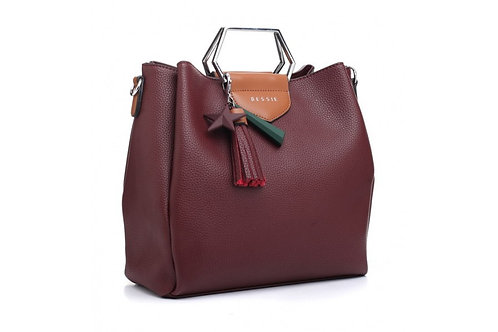 Burgundy Star Charm Tote Bag