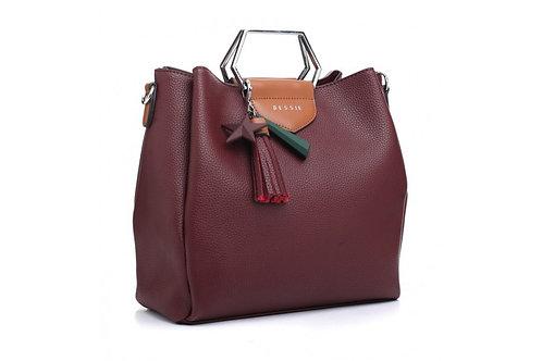 Burgundy Star Charm Tote Bag